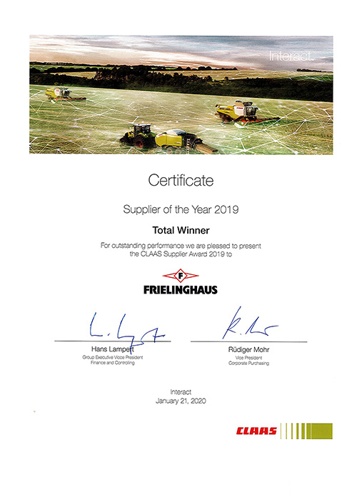 CLAAS Supplier of the year 2019